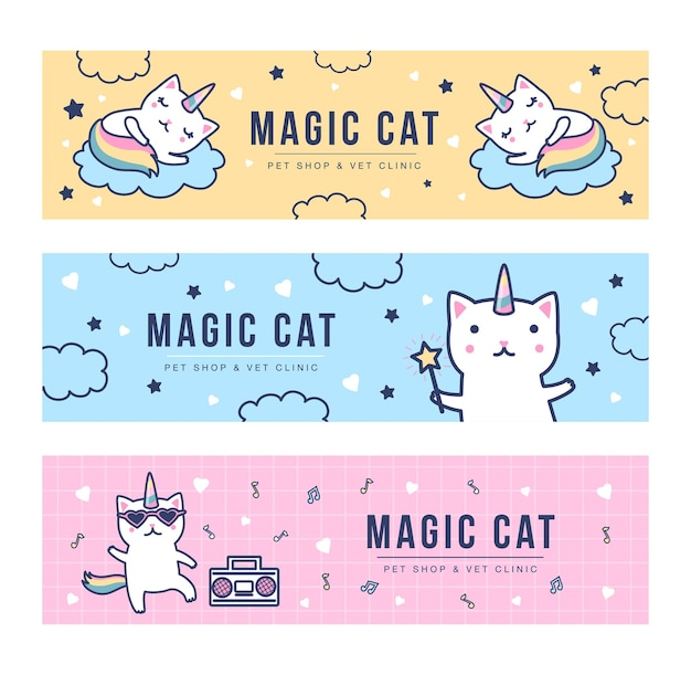 Conjunto de banners de gatos unicornio mágico