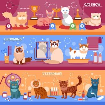 Conjunto de banners de gatos