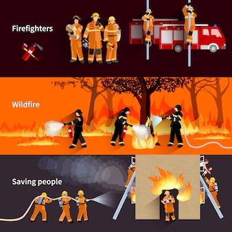 Conjunto de banners de gente horizontal bombero