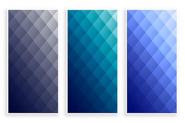 Conjunto de banners geométricos elegante patrón de diamante