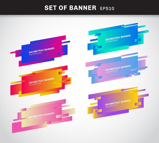 Conjunto de banners geométricos o etiqueta de colores vivos.