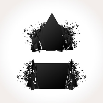 Conjunto de banners geométricos oscuros de explosión