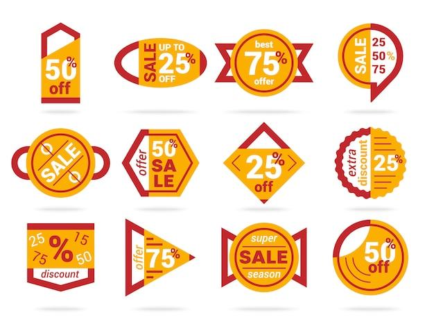 Conjunto de banners geométricos de venta