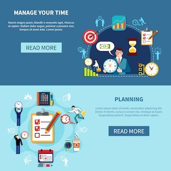 Conjunto de banners de gestión del tiempo