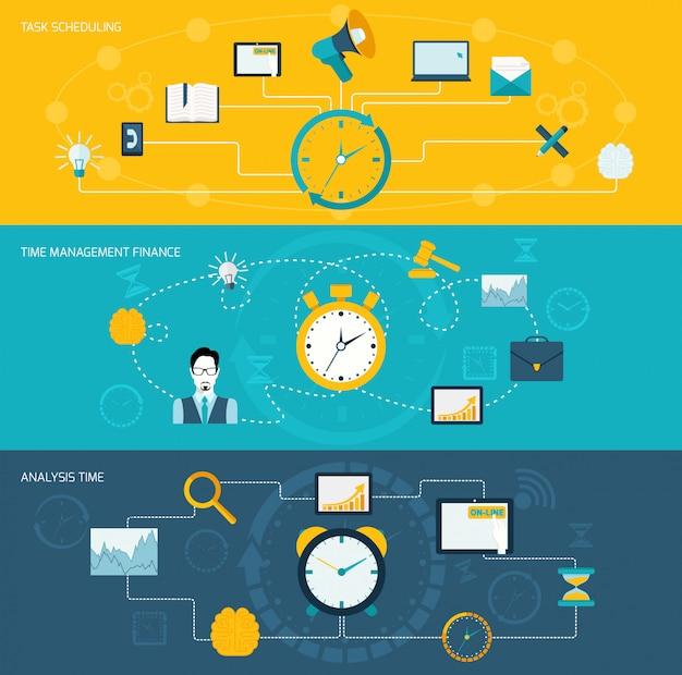 Conjunto de banners de gestión de tiempo