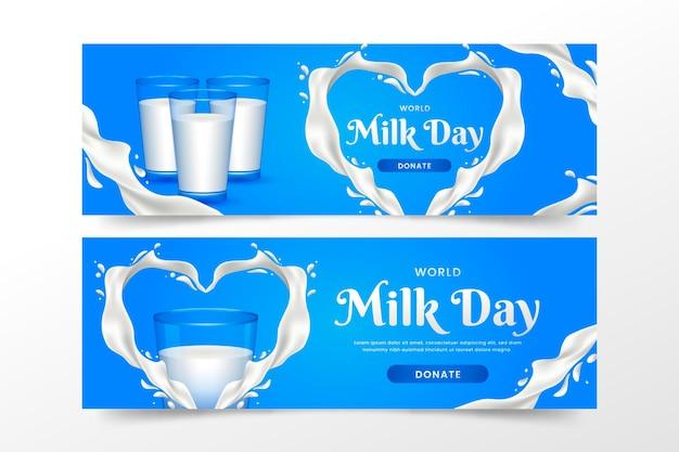 Conjunto de banners de gradiente del día mundial de la leche