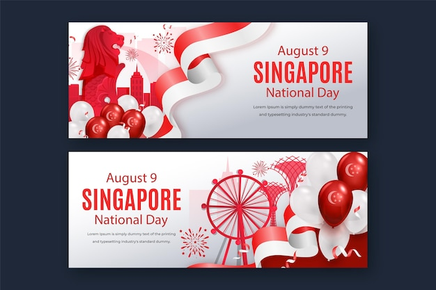 Conjunto de banners de gradiente del día nacional de singapur
