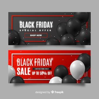 Conjunto de banners de gradiente viernes negro