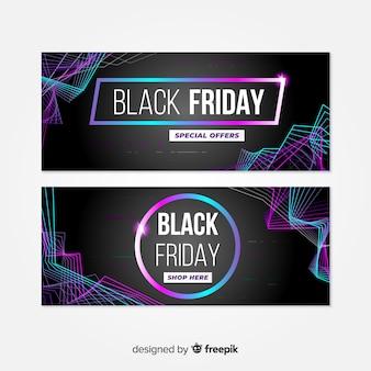 Conjunto de banners gradiente de viernes negro