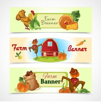 Conjunto de banners de granja