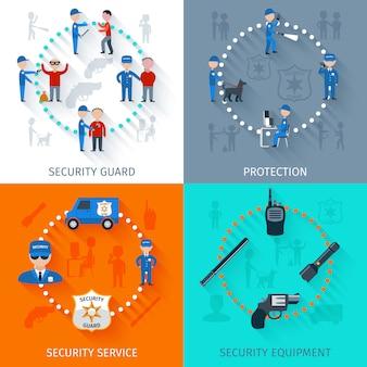 Conjunto de banners de guardia de seguridad