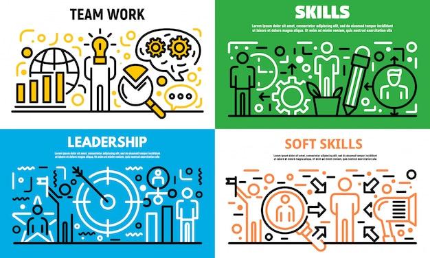 Conjunto de banners de habilidades de gestión humana, estilo de contorno