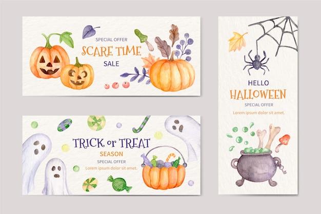 Conjunto de banners de halloween en acuarela