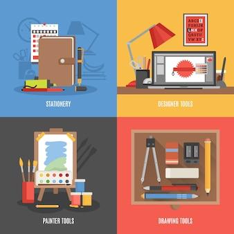 Conjunto de banners de herramientas de dibujo