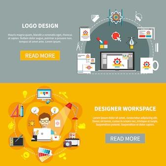 Conjunto de banners de herramientas de diseño
