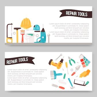 Conjunto de banners de herramientas de servicio de reparación