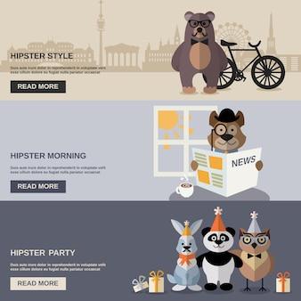 Conjunto de banners de hipster animal