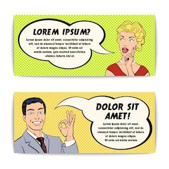 Conjunto de banners de hombre y mujer de cómic
