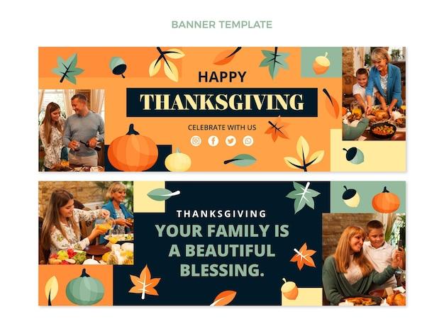 Conjunto de banners horizontales de acción de gracias planos dibujados a mano