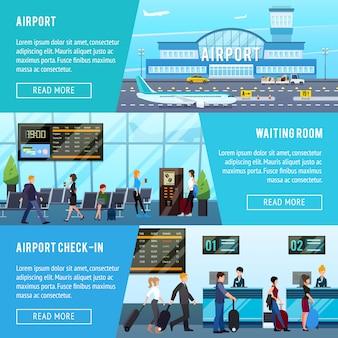 Conjunto de banners horizontales de aeropuerto