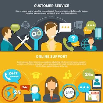 Conjunto de banners horizontales en amarillo negro con servicio al cliente y soporte en línea aislado