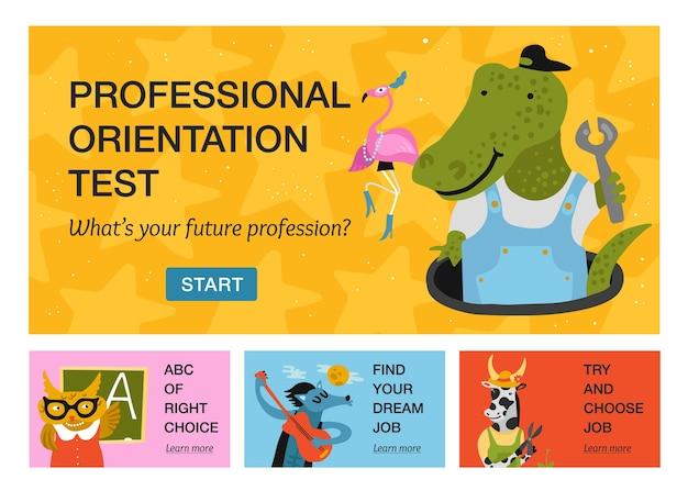 Conjunto de banners horizontales con animales humanizados de diferentes profesiones aisladas sobre fondo de color