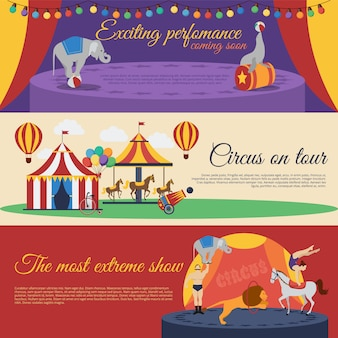 Conjunto de banners horizontales de anuncios de circo