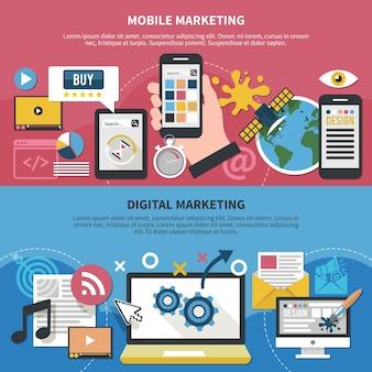 Conjunto de banners horizontales con aplicaciones móviles, diseño gráfico, internet satelital y marketing digital aislado