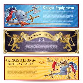 Conjunto de banners horizontales de caballero