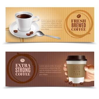Conjunto de banners horizontales de café
