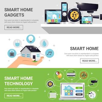 Conjunto de banners horizontales de casa inteligente