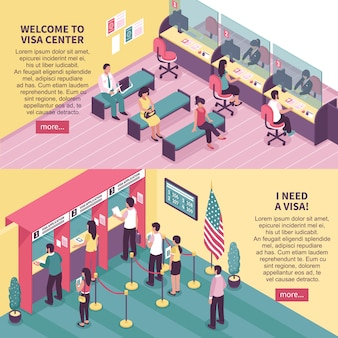 Conjunto de banners horizontales de centro de visa
