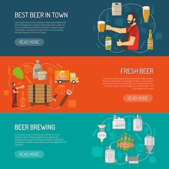 Conjunto de banners horizontales de cervecería