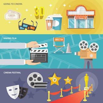 Conjunto de banners horizontales de cine.
