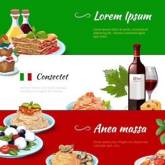 Conjunto de banners horizontales de comida italiana. cocina y pasta, italia, macarrones con queso de nutrición, cultura tradicional culinaria, ilustración vectorial
