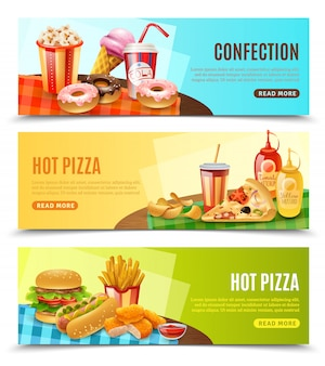 Conjunto de banners horizontales de comida rápida