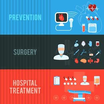 Conjunto de banners horizontales de concepto de cirugía