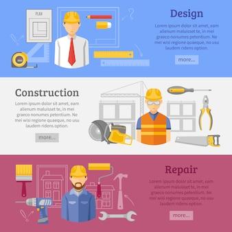 Conjunto de banners horizontales de concepto de obras de construcción