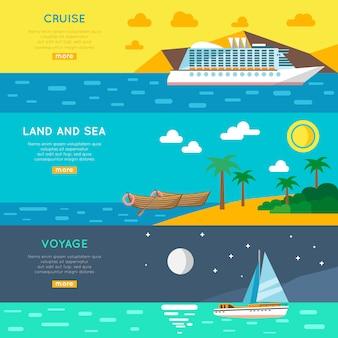 Conjunto de banners horizontales de concepto de viaje náutico
