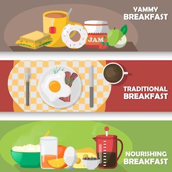 Conjunto de banners horizontales de desayuno