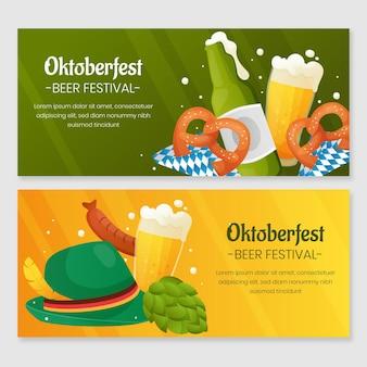 Conjunto de banners horizontales detallados de oktoberfest