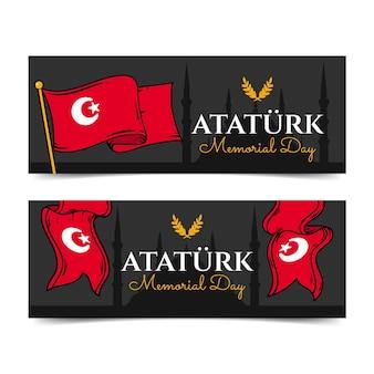 Conjunto de banners horizontales del día conmemorativo de ataturk dibujados a mano