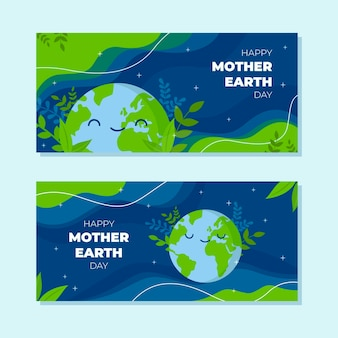 Conjunto de banners horizontales del día de la madre tierra