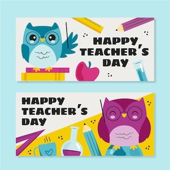 Conjunto de banners horizontales del día del maestro plano dibujado a mano