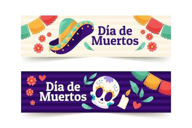 Conjunto de banners horizontales dia de muertos planos dibujados a mano