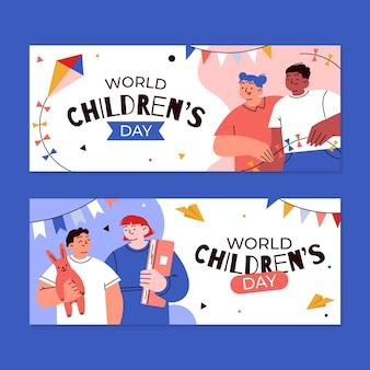 Conjunto de banners horizontales del día mundial de los niños dibujados a mano