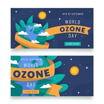 Conjunto de banners horizontales del día mundial del ozono
