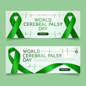 Conjunto de banners horizontales del día mundial de la parálisis cerebral realista