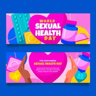 Conjunto de banners horizontales del día mundial de la salud sexual plana