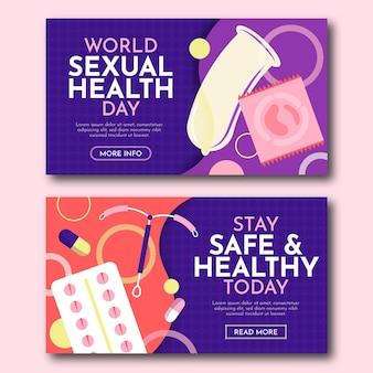 Conjunto de banners horizontales del día mundial de la salud sexual.
